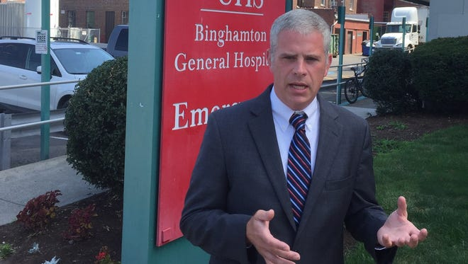 """Broome County Executive candidate Jason Garnar called on incumbent Debbie Preston to declare a """"public health emergency"""" in the face of the county's opioid crisis Thursday."""