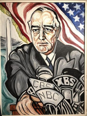 This painting of President Franklin D. Roosevelt by local artist Alice Stallknecht is part of an exhibit on the 75th anniversary of World War IIn in The Durand Room at the newly reopened Atwood Museum.