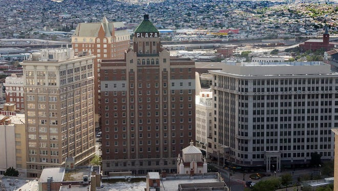 The landmark Plaza Hotel in Downtown El Paso, at center, was built in 1930 and designed for Conrad Hilton by Trost & Trost.