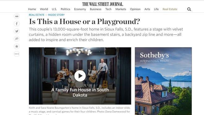 Screengrab of Wall Street Journal website featuring a South Dakota home.