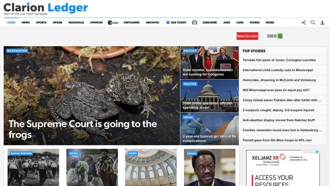 Clarion Ledger screenshot from Jan. 22, 2018.