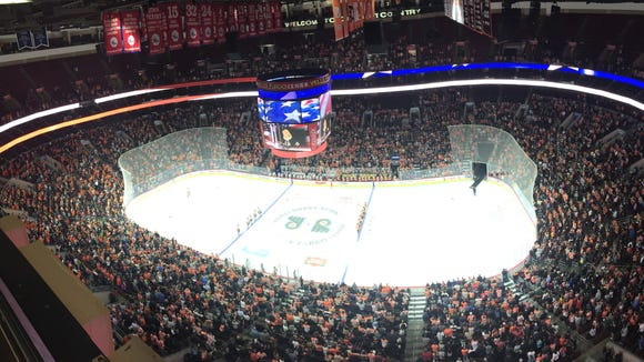 The Flyers rookie game against the Islanders drew a crowd of 13,050.