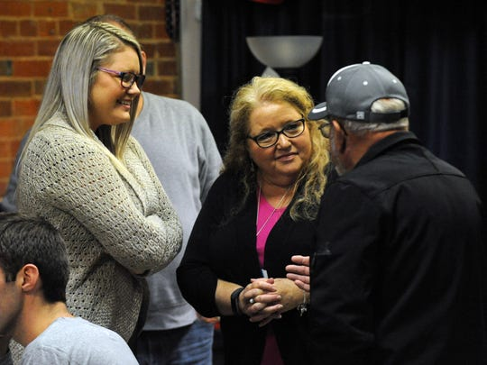 Amber Bobbitt, left, and Melody Bobbitt talk with people Tuesday night, Nov. 7, 2017, at the at the Fairfield County Democratic Party headquarters in downtown Lancaster. Melody Bobbitt was unopposed in re-election bid for the first ward Lancaster City Council seat. Amber Bobbitt lost her bid for an at-large seat on the council