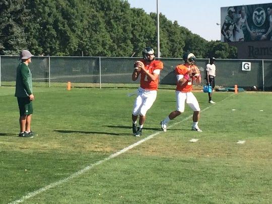 CSU quarterbacks Nick Stevens, left, and Faton Bauta