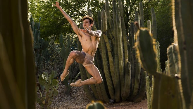 """Ballet Arizona dancer Nayon Iovino was photographed at the Desert Botanical Garden in Phoenix April 27, 2016. """"Round - An Evening at Desert Botanical Garden"""" will be performed by Ballet Arizona from May 17 through June 4."""