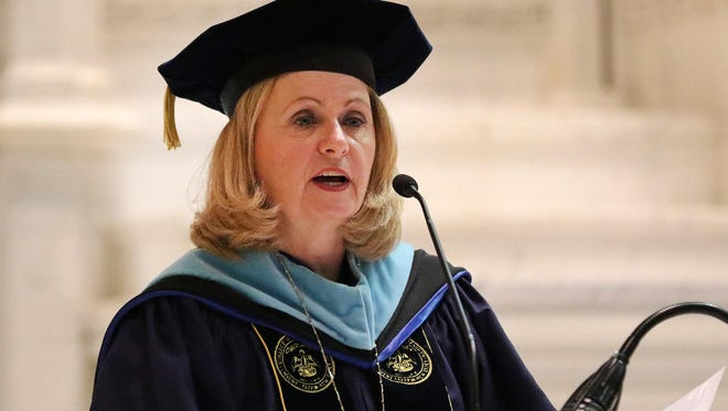 Helen Streubert, president, speaks to the graduating class at The College of Saint Elizabeth inside the Chapel before commencement ceremonies, Saturday, May 14, 2016.