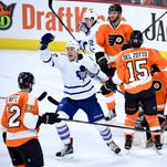 Toronto Maple Leafs center Shawn Matthias (23) reacts