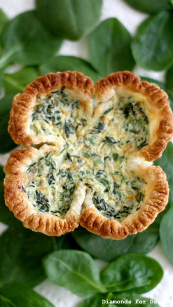 Appetizer: Spinach Quiche in Shamrock Shape