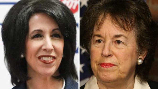 County executive candidates Cheryl Dinolfo, a Republican, left, and Sandra Frankel, a Democrat, right. Green Party candidate Rajesh Barnabas also seeks the county executive seat.