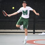 Mason junior Sean Reid focuses on a forehand Tuesday at the OHSAA state tennis tournament.