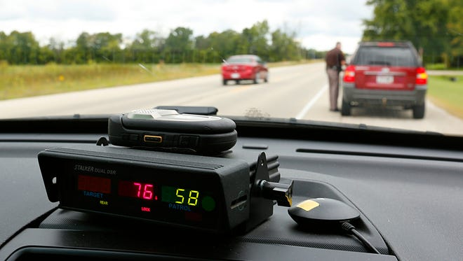 A Fond du Lac County Sheriff's deputy conducts a traffic stop.