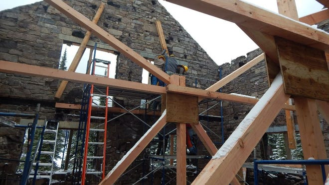 Crews used more than 120 beams to stabilize the structure of the Sperry Chalet dormitory building.