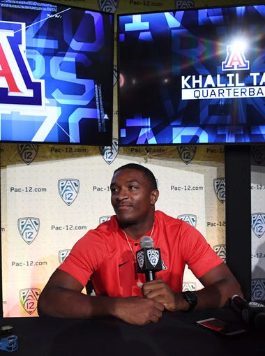 Arizona Wildcats quarterback Khalil Tate speaks during Pac-12 Media Day at Hollywood & Highland.