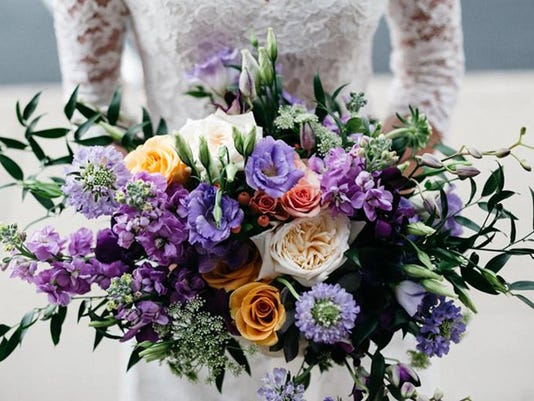 high res Amercian Garden Style Bouquet purple