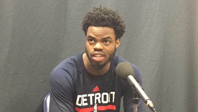 Michigan's Derrick Walton Jr. at Detroit Pistons pre-draft workouts June 13, 2017.