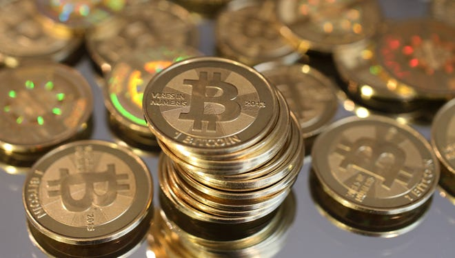 One bitcoin was worth about $577 at the end of the day Wednesday, according to CoinDesk Bitcoin Price Index.