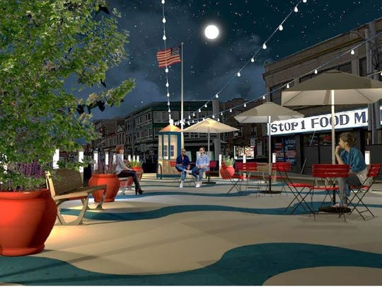 A rendering ofa pedestrian plaza in downtown Port
