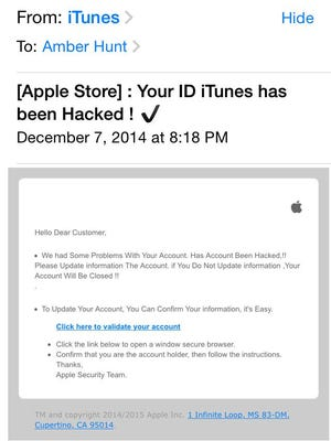 A bogus email pretending to be from iTunes is seen in this screen shot from consumer advocate reporter Amber Hunt's iPhone.