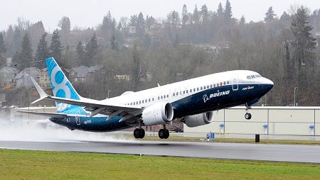The CFM-powered Boeing 737 MAX making its first test flight last month near Seattle.