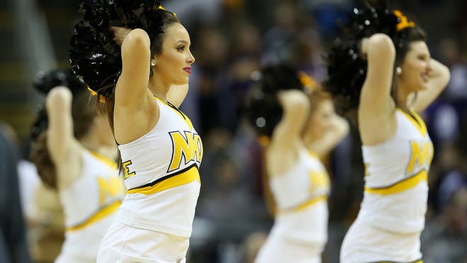 The Northern Kentucky Norse cheerleaders perform in the first half during the college basketball game between the IUPUI Jaguars and the Northern Kentucky Norse, Thursday, Dec. 28, 2017, at BB&T Arena in Highland Heights, Ky.