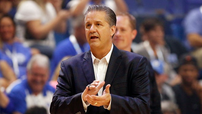 Head coach John Calipari watches his team warm up during UK's Big Blue Madness at Rupp Arena.
