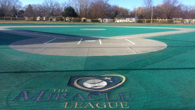 The worn rubberized field for the Miracle League of Green Bay at Allouez Optimist Park is slated to be replaced this spring in time for the start of the baseball season June 3.