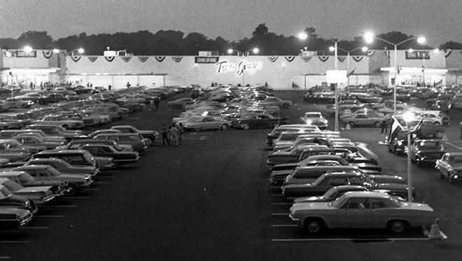 The parking lot of the Vineland Two Guys is filled to capacity during the opening week in 1966.