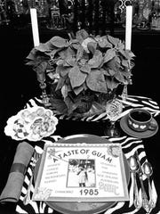 "A Pacific Daily News file photo dated December 1984 shows a place setting inside the home of Dorothy Horn. The original photo caption read: "" Dorothy Horn's 'A Taste of Guam' on top of a plate in her dining room features ethnic recipes and a 1985 calendar."