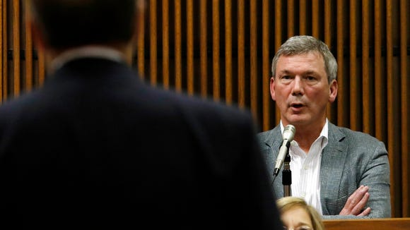 Prosecutor Van Davis questions witness Rob Burton during Alabama House Speaker Mike Hubbard's trial on Thursday, June 2, 2016,  in Opelika, Ala. (Todd J. Van Emst/Opelika-Auburn News via Pool)