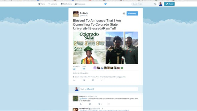 Detrich Clark announced his commitment to CSU's football program Saturday on Twitter.