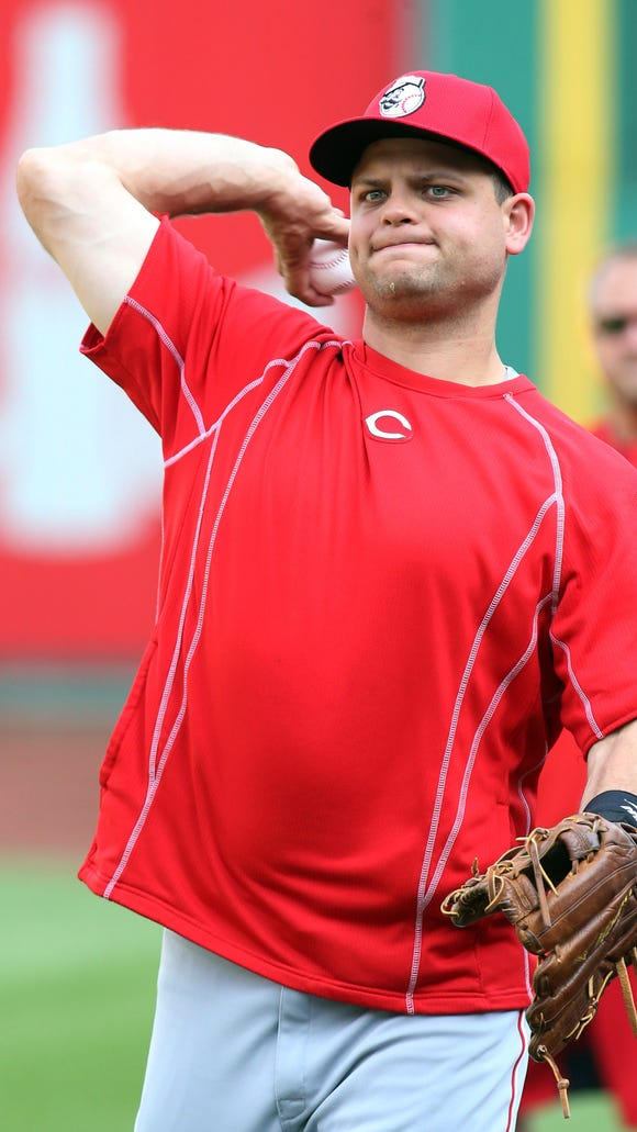 Reds catcher Devin Mesoraco throws on the field before Wednesday's game against the Pittsburgh Pirates at PNC Park.