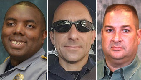 From left: Montrell Jackson, Matthew Gerald and Brad Garafola, the three law-enforcement officers killed in Baton Rouge, La., on Sunday