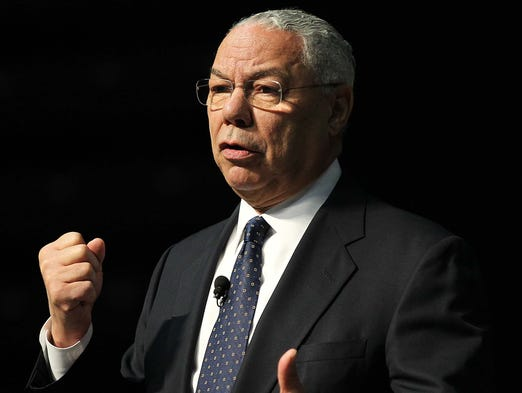 General Colin Powell speaks at about global perspectives at JQH Arena in Springfield on March 20, 2014