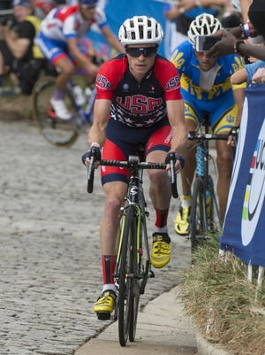 Ben King (USA) in the UCI road cycling world championships at Richmond Road Circuit. King broke his leg in early January and expects to be back racing sometime in March.