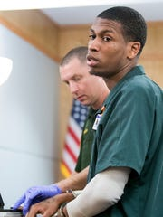 Bennie Louis Robbins III, 22, is fingerprinted after Judge Terry Terrell resentenced him in court in Pensacola on Thursday, August 24, 2017.