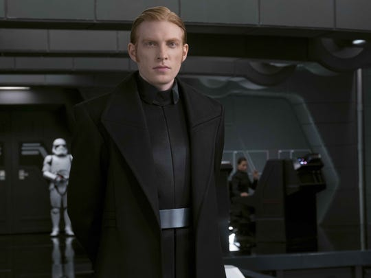 """Domhnall Gleeson cuts a cold figure as General Hux in """"Star Wars: The Last Jedi."""""""