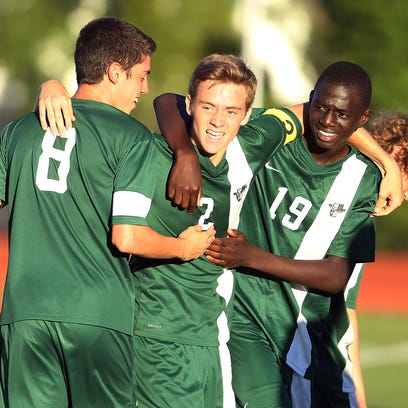 Drew Thiem celebrates, scoring off a rebound, lifting Kinnelon to a 2-1 defeat of Boonton a minute into the second overtime. Boonton-Kinnelon NJAC-Independence boys soccer match. September 27, 2016, Boonton, NJ