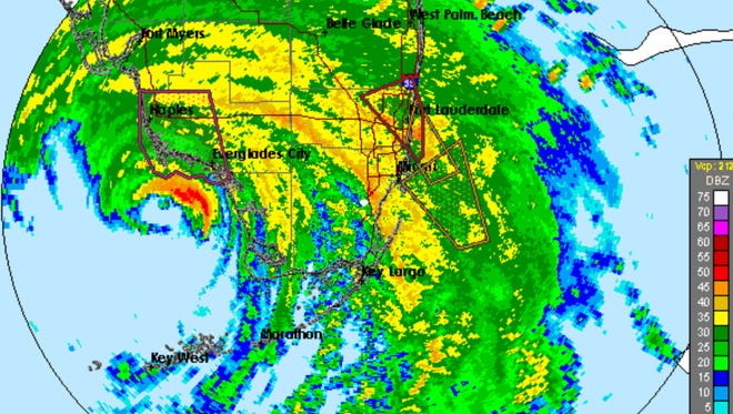 Radar over Collier County as of 2 p.m. on Sunday, Sept. 10, 2017.