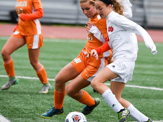 Mater Dei's Miranda Nosko tries to find space against Wheeler in the Class A state championship game. The Wildcats won their first state title in program history last year.