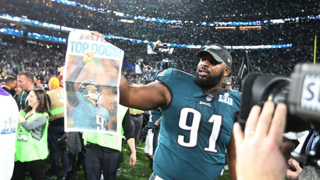 Philadelphia Eagles defensive tackle Fletcher Cox (91) celebrates after defeating the New England Patriots to win Super Bowl LII at U.S. Bank Stadium. Mandatory Credit: Kirt Dozier-USA TODAY Sports