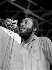 Dick Gregory, a former comedian who is now running for president, speaks to a crowd of 3,000 during a program at Vanderbilt University on Sept. 27, 1968, sponsored by the Vanderbilt Forum and the Afro-American Association.
