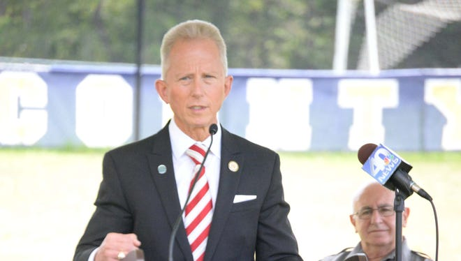 Senator Jeff Van Drew addresses guests during a groundbreaking ceremony for the new Cumberland County Technical Education Center on the grounds of Cumberland County College on Wednesday, September 17, 2014.  Staff photo/Charles J. Olson