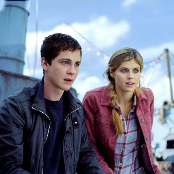 "Logan Lerman and Alexandra Daddario appear in a scene from the motion picture ""Percy Jackson: Sea of Monsters."" Gannett/20th Century Fox"