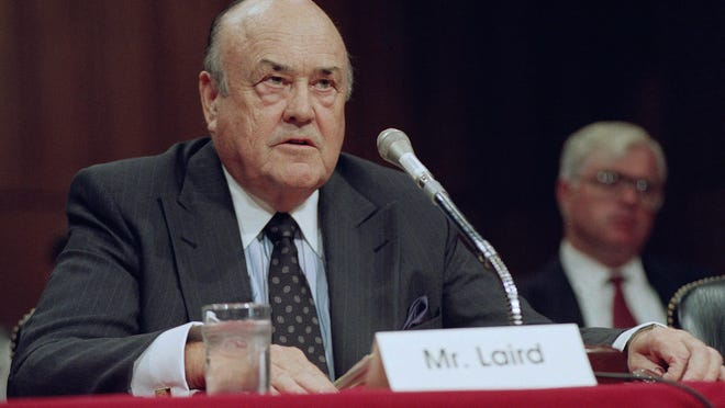 In this 1992 file photo, former Defense Secretary Melvin R. Laird testifies on Capitol Hill in Washington. Laird, Defense Secretary under Richard Nixon, helped engineer withdrawal of U.S. troops from Vietnam.