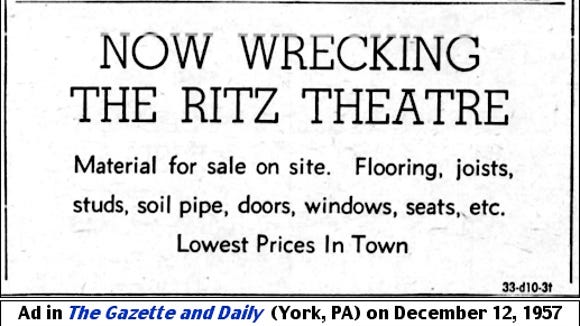 NOW WRECKING THE RITZ THEATRE ad in The Gazette and Daily (York, PA) on December 12, 1957