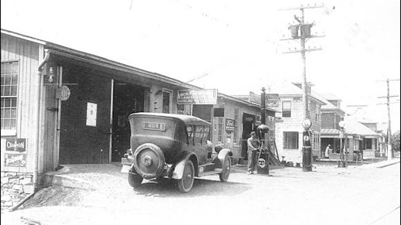 Submitted copy of suspected Calendar Photo of the Lincoln Highway Garage in Hallam Borough, York Co., PA (This photo has been dated circa 1925 and the building still stands at 278-280 East Market Street in Hallam, PA)