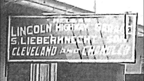 Garage sign section of a submitted copy of the Lincoln Highway Garage in Hallam Borough, York Co., PA (This photo has been dated circa 1925 and the building still stands at 278-280 East Market Street in Hallam, PA)