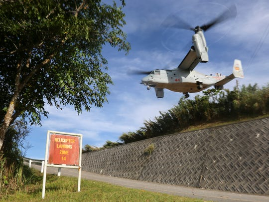 An MV-22 Osprey takes off from Helicopter Landing Zone