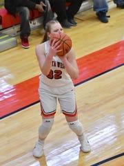 Abby Prohaska knocks down a three point shot against Hamilton Wednesday, January 31st at Lakota West High School