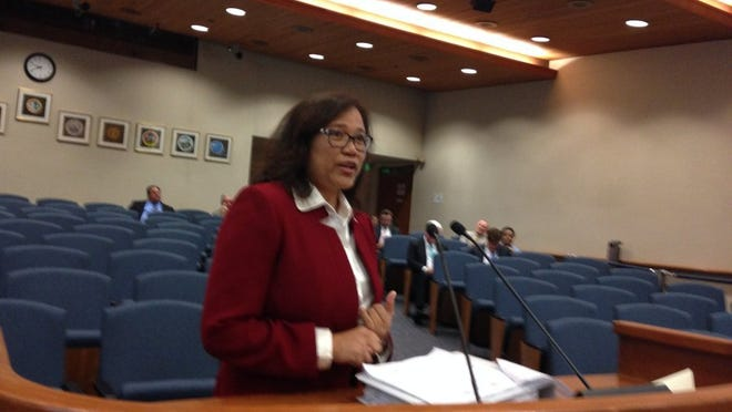 County Chief Financial Officer Catherine Rodriguez presents budget recommendations in this photo from 2016.